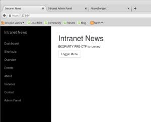 Whoa ! It works ! I've got the intranet !